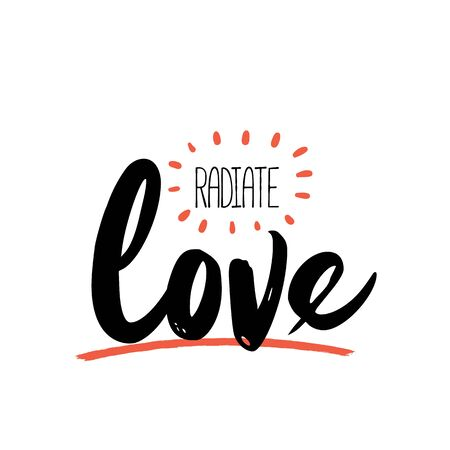 Radiate Love poster quote, typography design with sunray, inspirational phrase.