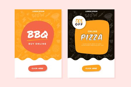 BBQ, pizza online order doodle banner with grill icons, burger, promotion design, restaurant template