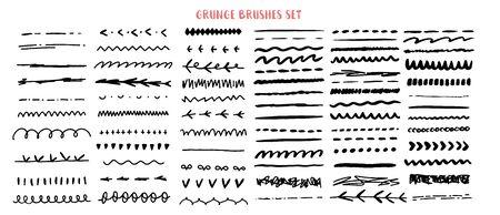 Vector line grunge sketch border set. Hand Drawn Brush pen stroke, pencil devider, black element.