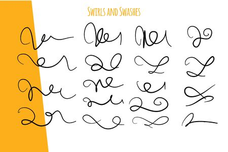 Vintage swirl set. Handwritten flourish ornament set. Vintage vector decoration. Line vector for vintage label. 向量圖像