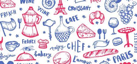 French background, france pattern frame, doodle hand drawn croissant, paris decoration, cafe banner
