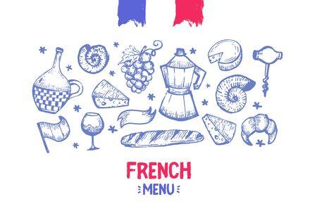 French banner design with flag, france frame, doodle hand drawn croissant, paris decoration, cafe banner 向量圖像
