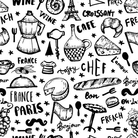 Black French seamless pattern, france background, doodle hand drawn croissant, paris decoration, cafe banner