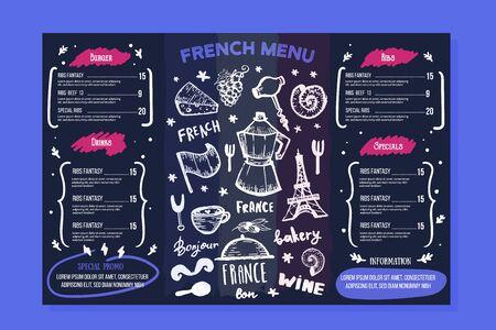 French bakery menu design on chalkboard, france frame, doodle hand drawn croissant, paris decoration, cafe banner