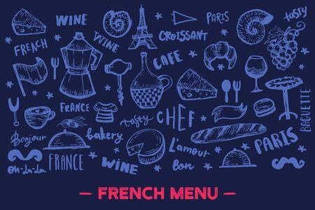 French banner design, france pattern frame on chalkboard, doodle hand drawn croissant, paris decoration, cafe banner 向量圖像