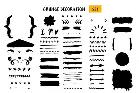 Grunge decoration set for quote creation, rough ornament collection, borders, frames dividers. Illustration