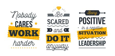 Motivational poster quote set, success work concept, vector flyer for wall, typographic template.