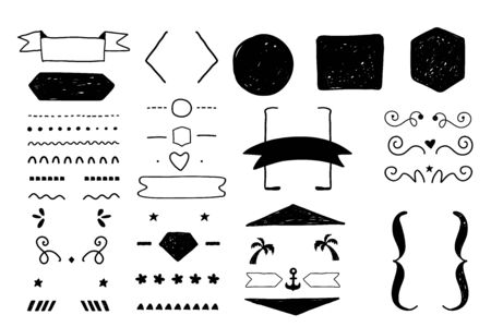 Doodle decoration set for quote creation, rough ornament collection, borders, frames dividers with labels, backgrounds and icons. Illustration