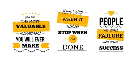 Motivational poster quote set, success work concept, vector poster for wall, typographic template.