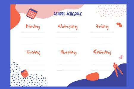 Colorful School schedule design template with elements.