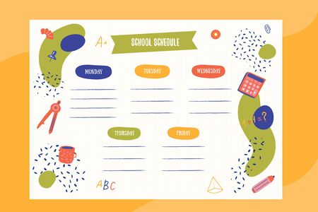 Hipster School schedule design template with elements. 向量圖像