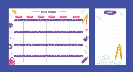 Hipster School schedule design template with elements. Vector template. Calendar Daily planner. Paper sheet. Ilustracja