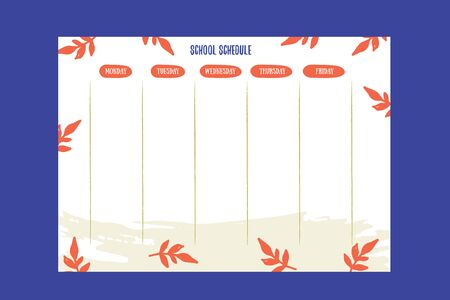 Hipster School schedule design template with autumn leaves. Vector template. Calendar Daily planner. Paper sheet.