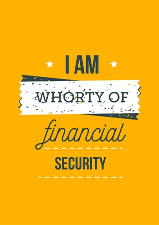 I am worthy of financial security, professional goal poster, growth management. 向量圖像