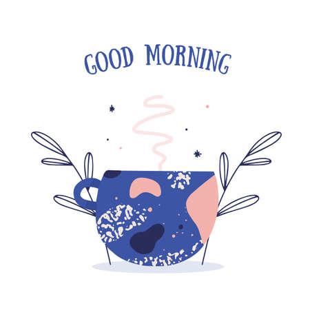 Modern Breakfast Poster with coffee mug. Good morning greeting Vector illustration 向量圖像