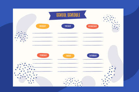 Abstract School schedule design template with patterns. Vector template. Calendar Daily planner. Paper sheet. Ilustracja