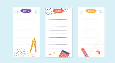 Notes schedule design template for school with grunge elements. Vector template. Calendar Daily planner. Paper sheet