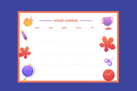 Modern School schedule design template with gradient maple leaves, ball, cup. Vector template. Calendar Daily planner. Paper sheet. Ilustracja