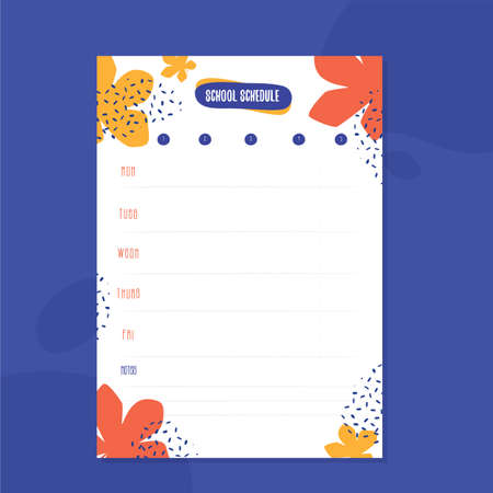 Hipster School schedule design template with maple leaves. Vector template. Calendar Daily planner. Paper sheet 向量圖像