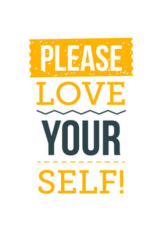 Please, Love Yourself. Inspirational and motivational typography quote for your designs: t-shirts, bags, posters, invitations, cards, etc. 向量圖像