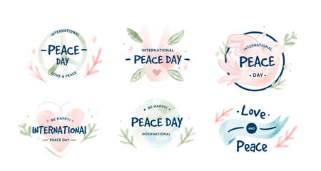 Peace day label symbols with thumbs up. Dove carries an olive branch. And a warm Heart.Digital watercolor Vector illustration