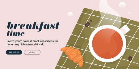 Breakfast banner, good morning poster card with coffee and croissant, food vector concept, modern restaurant
