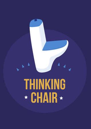 Print Thinking chair toilet design, bathroom quote decoration restroom, sanitary typography 向量圖像