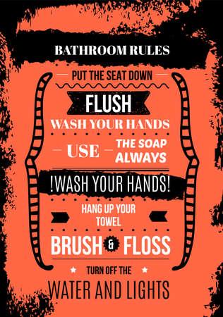 Bathroom Print design, toilet decoration in A4 format, restroom illustration, creative placard