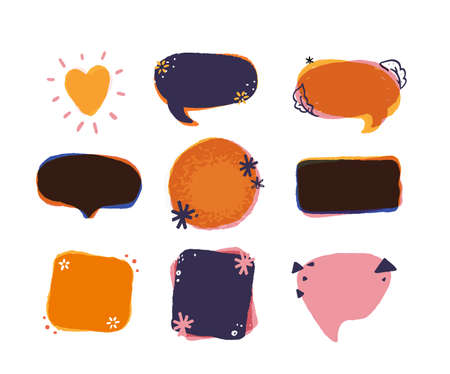 Empty Colorful Grunge speech and thought bubbles. Vector illustration with particles