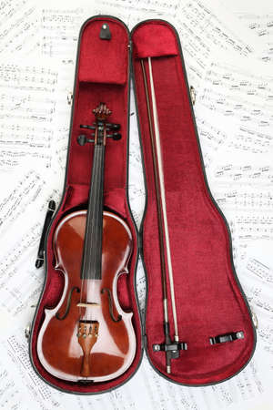 Violin case notes. Classical musical instrument in cover on sheet music photo