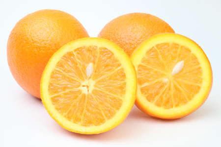 Orange fruit. Juicy oranges fruits with slice on white background. photo