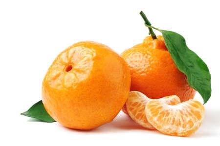 peeled: Tangerine with leaf. Mandarin isolated on white. Stock Photo