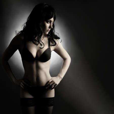 Sexy Mode Frau in Dessous Porträt. Schwarze elegante Unterwäsche Lizenzfreie Bilder