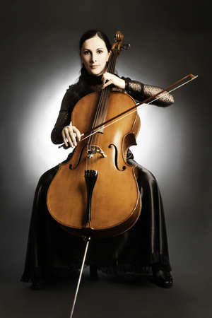 cello: Cello classical musician cellist. Woman with musical instrument Stock Photo