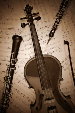 stringed: Vintage musical instrument retro. Classical violin oboe clarinet with music notes. Stock Photo
