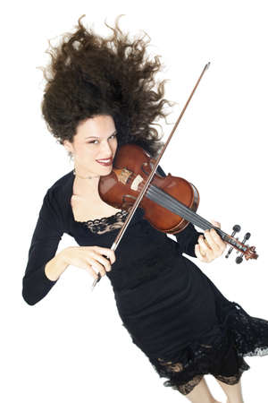 dynamical: Violin violinist player Young happy musician isolated white