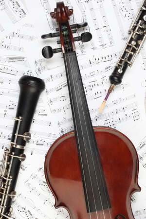 flute instrument: Classical musical instruments notes. Violin oboe clarinet music instrument of symphony orchestra. Stock Photo