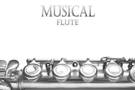 flauta: Flauta de fondo instrumento musical. Detalles de la música aislado en blanco