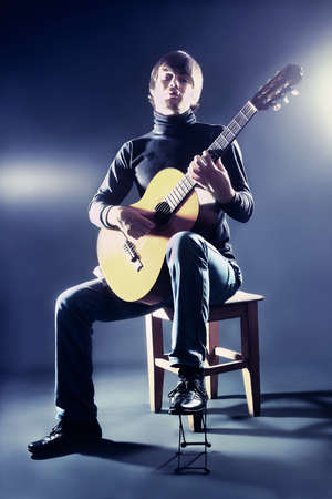 Guitarist musician guitar acoustic playing photo