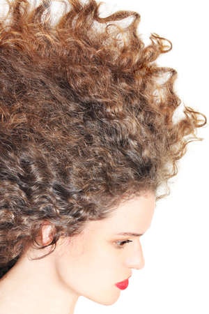 Hairstyle curly hair woman brunette Stock Photo - 13394649