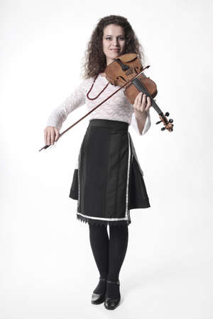 violin player: Violinist with violin on white background