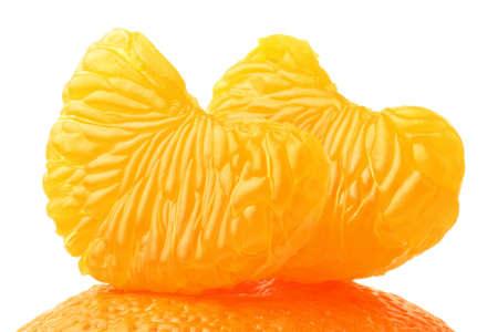 segment: Tangerine slice. Mandarin peeled sliced segment isolated on white Stock Photo