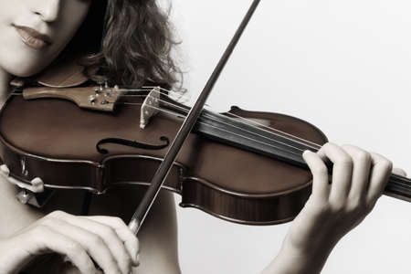 Violin musical instrument violinist hand. Classical musician orchestra music playing Stock Photo
