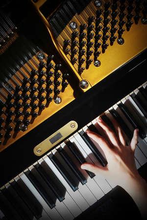 grand piano: Klaviermusik Pianisten H�nde spielen. Musikinstrument Fl�gel Details mit Performer Hand auf wei�em Hintergrund