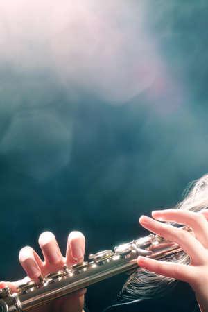 Flute playing flutist musician hands musical instrument
