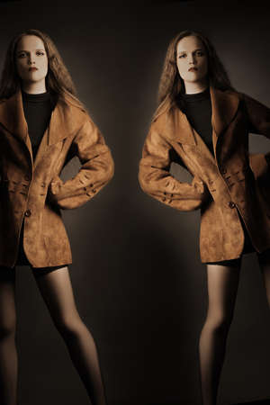specular: Fashion model in foxy jacket. Elegant woman in autumn clothes.
