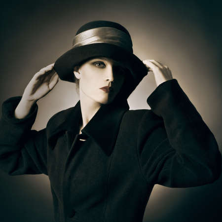 Retro vintage portrait woman in hat.  photo
