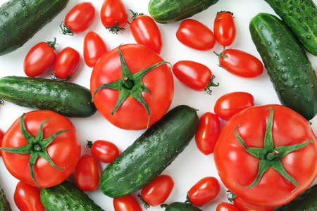 Fresh vegetables tomato and cucumber Stock Photo - 16539800