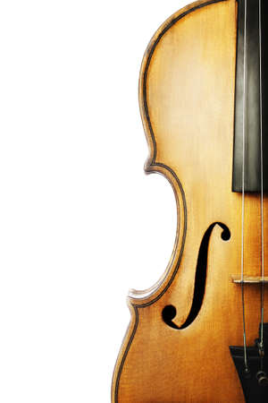 Violin musical instrument orchestra  Classical music violin closeup isolated on white photo