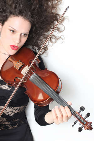 Violin player violinist expressive woman playing photo
